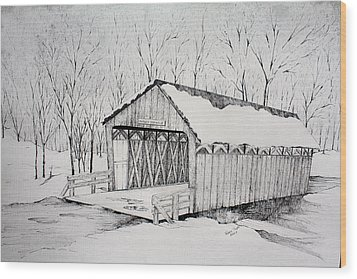 Snow Bridge 2012  Wood Print by Tammie Temple