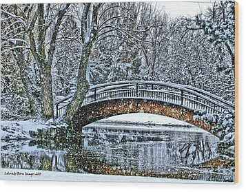 Snow Bridge Wood Print by Rebecca Adams