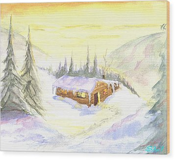 Snow Cabin Welcome Wood Print