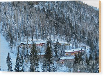 Snow Cabins Wood Print