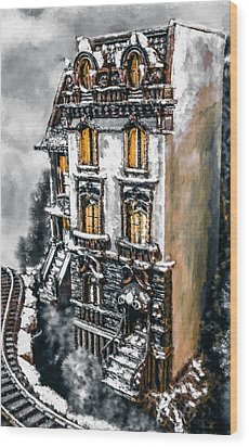 Snow Capped Brownstone Wood Print by Jill Balsam