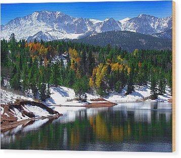 Snow Capped Pikes Peak At Crystal  Wood Print by John Hoffman