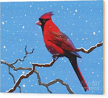 Snow Card Wood Print by Robert Foster