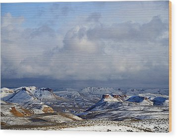 Snow Clouds Over Flaming Gorge Wood Print by Eric Nielsen