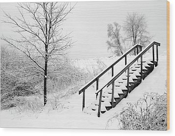 Snow Cover Stairs Wood Print