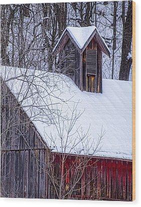 Snow Covered Barn Wood Print by Wayne Meyer