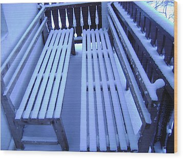 Snow Covered Bench Wood Print