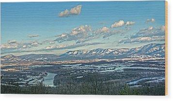 Snow Covered Blue Ridge Wood Print by Lara Ellis
