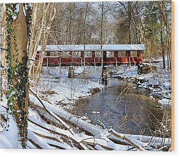 Snow Covered Bridge Wood Print by Janice Drew