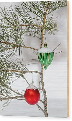 Snow Covered Christmas Ornaments Wood Print
