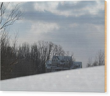 Snow Covered Driveway Wood Print by Tina M Wenger
