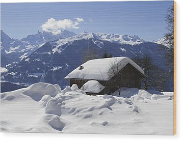 Snow-covered House In The Mountains In Winter Wood Print by Matthias Hauser