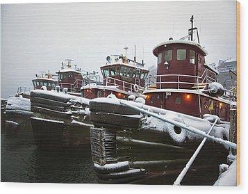 Snow Covered Tugboats Wood Print