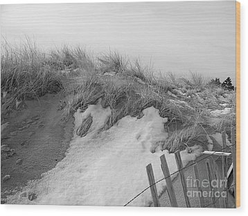 Snow Covered Sand Dunes Wood Print