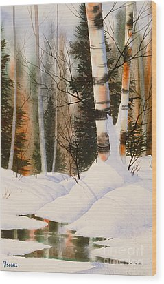 Snow Crevice Wood Print by Teresa Ascone