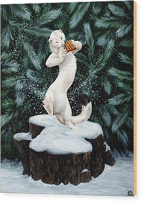 Snow Dance Wood Print by Beth Davies