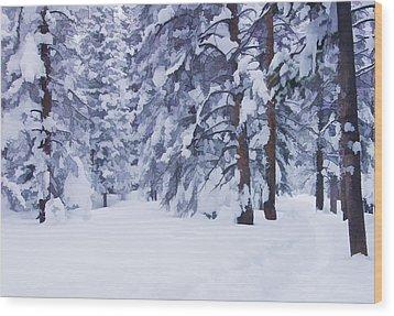 Snow-dappled Woods Wood Print by Don Schwartz
