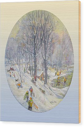 Wood Print featuring the painting Snow Day by Donna Tucker