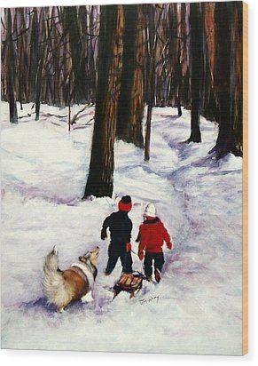 Snow Days Wood Print by Jeanne  McNally