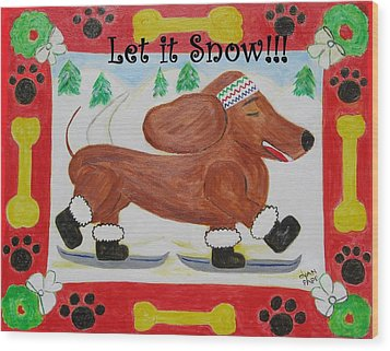 Snow Dog Wood Print by Diane Pape