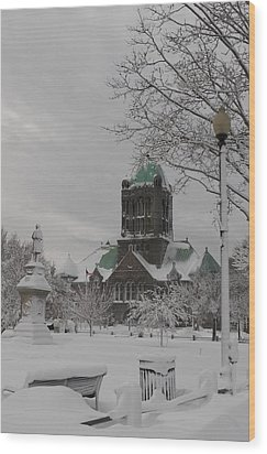 Snow Draped Green Wood Print