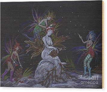 Snow Dryad Wood Print by Dawn Fairies