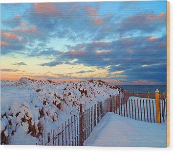Snow Dunes At Sunrise Wood Print by Dianne Cowen