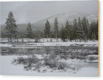 Snow-dusted Gibbon Meadows In Yellowstone Wood Print by Bruce Gourley