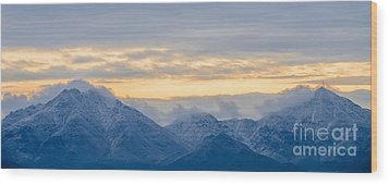 Snow Dusted Mcdowell Mountains Wood Print by Tamara Becker