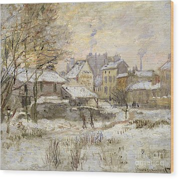 Snow Effect With Setting Sun Wood Print by Claude Monet