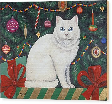 Snow Flake The Cat Wood Print by Linda Mears
