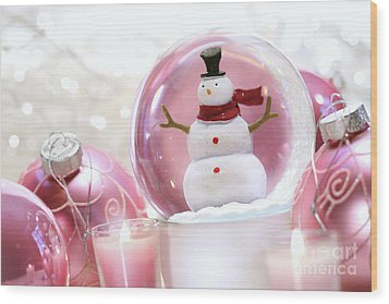 Snow Globe With Pink  Balls  Wood Print by Sandra Cunningham