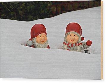 Snow Gnomes Wood Print by Odd Jeppesen