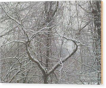 Snow Has A Heart Wood Print