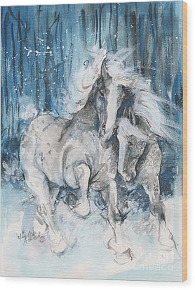 Snow Horses Wood Print by Mary Armstrong
