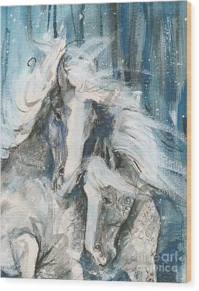 Snow Horses2 Wood Print by Mary Armstrong