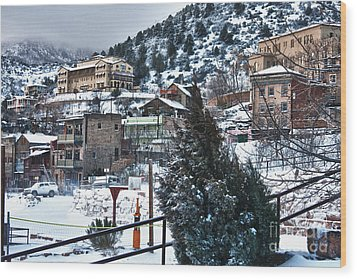 Snow In Jerome Arizona Wood Print