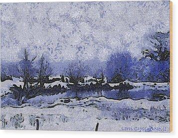 Snow In Texas Van Gogh Style Wood Print by Lorri Crossno