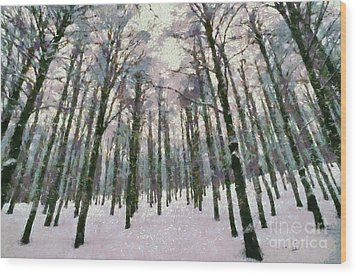 Snow In The Forest Wood Print by George Atsametakis