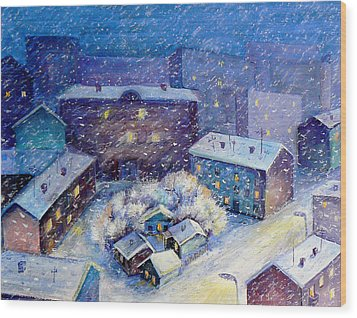Snow In The Town Wood Print by Svetlana Nassyrov