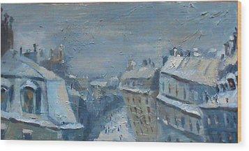 Snow Is Paris Wood Print by NatikArt Creations