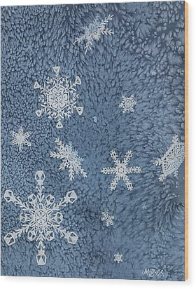 Wood Print featuring the painting Snow Jewels by Margaret Bobb