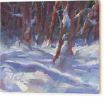 Snow Laden - Winter Snow Covered Trees Wood Print by Talya Johnson