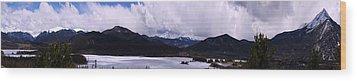 Snow Lake And Mountains Wood Print by Maria Arango Diener