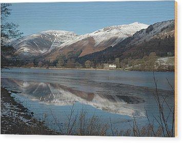 Snow Lake Reflections Wood Print