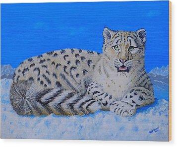 Snow Leopard Wood Print by David Hawkes