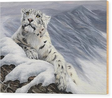 Snow Leopard Wood Print by Lucie Bilodeau