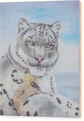 Snow Leopard Wood Print by Thomas J Herring