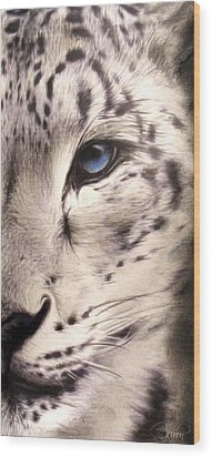 Snow Leopard Wood Print by Sheena Pike