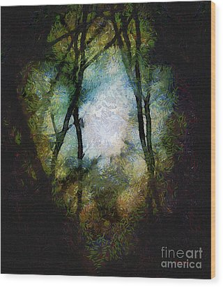 Snow Moon Embrace Wood Print by RC deWinter